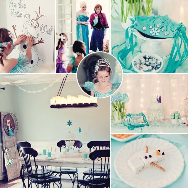 kindergeburtstag feiern deko ideen motto frozen film t rkisblau wei kinder party idee spiel. Black Bedroom Furniture Sets. Home Design Ideas