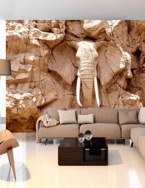 Carta da parati elefante nella pietra carta da parati for Carta da parati effetto pietra 3d