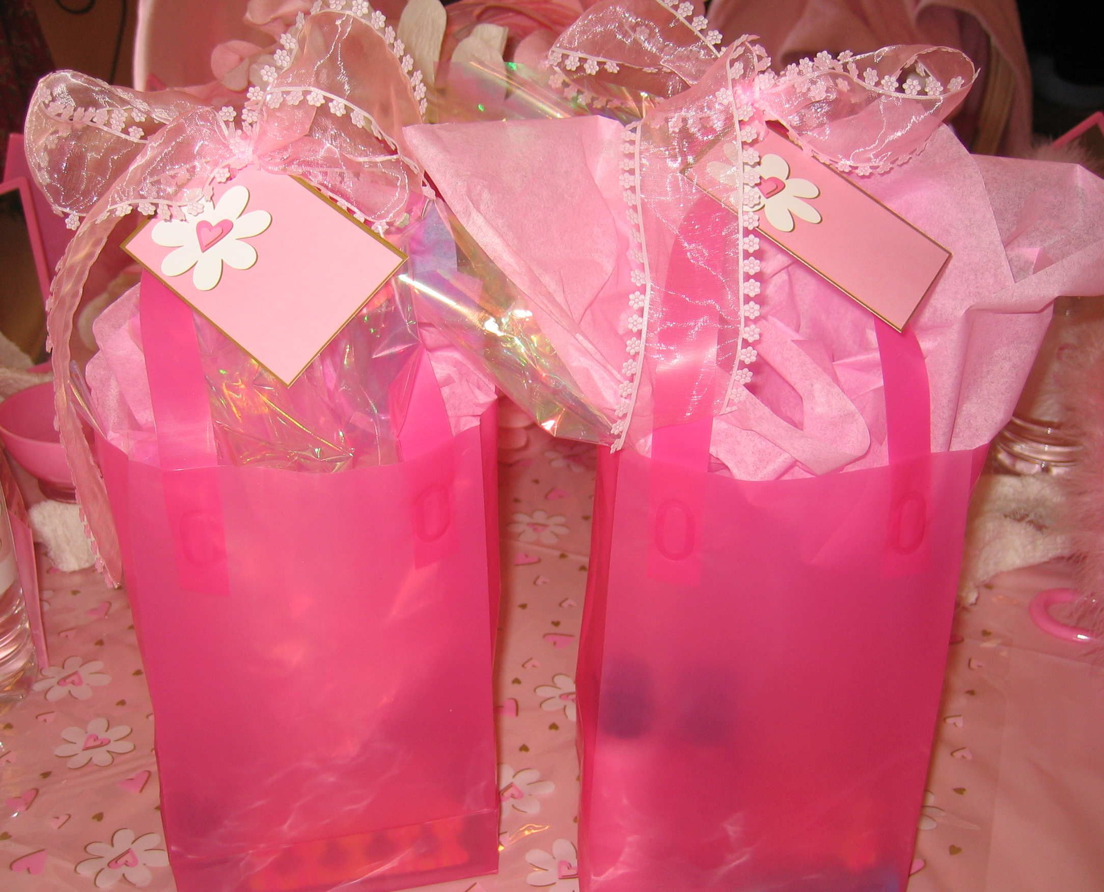 Spa Party Favors Adorable Favor Bags with ribbon and spa goodies