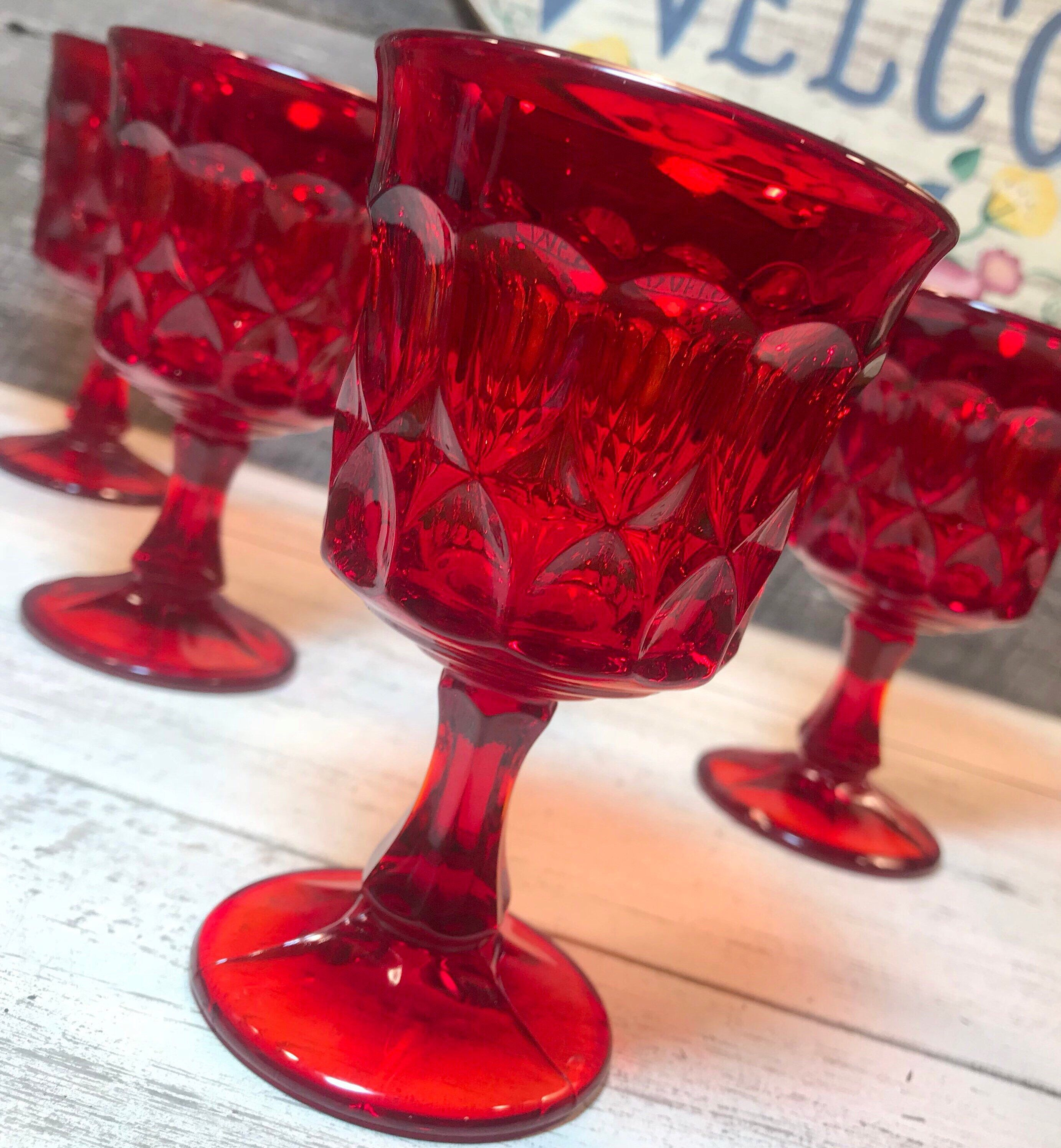 Excited To Share This Item From My Etsy Shop 1970 S Set Of 4 Four Noritake Perspective Ruby Red W Red Wine Glasses Crystal Stemware Personalized Wine Glass