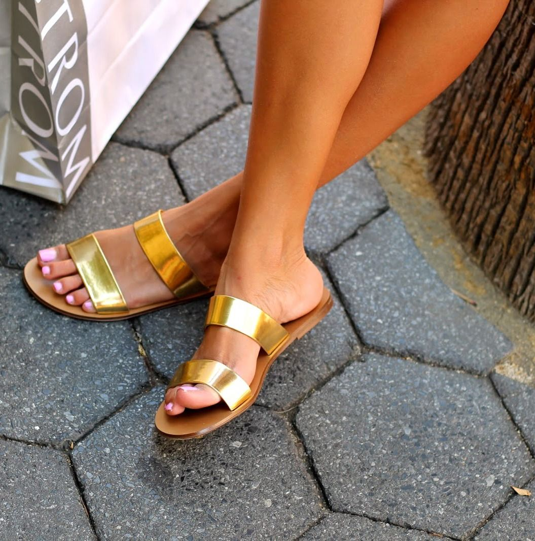 Gold J Crew Slides Shoes Pinterest Gold Sandals