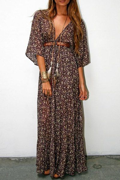 tiny floral plunging veck maxi dress