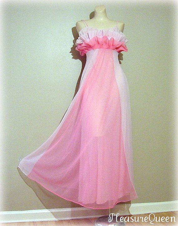 RESERVED FOR SUSANNE Pink Showgirl Vanity Fair Petal Bust Long Gown ... 541256b2b
