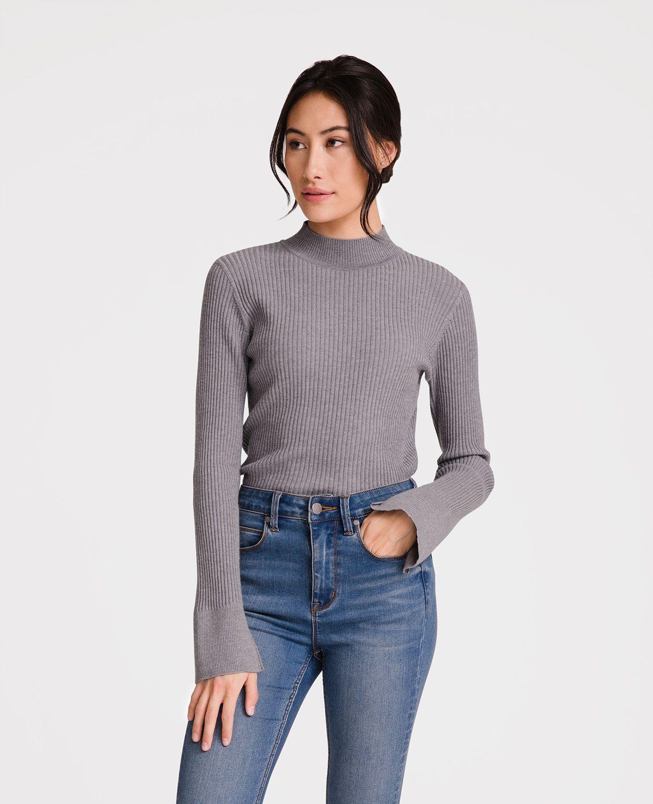 b49f2ef753 Italian Merino Wool Rib Mock Neck Sweater | fashion & other ...
