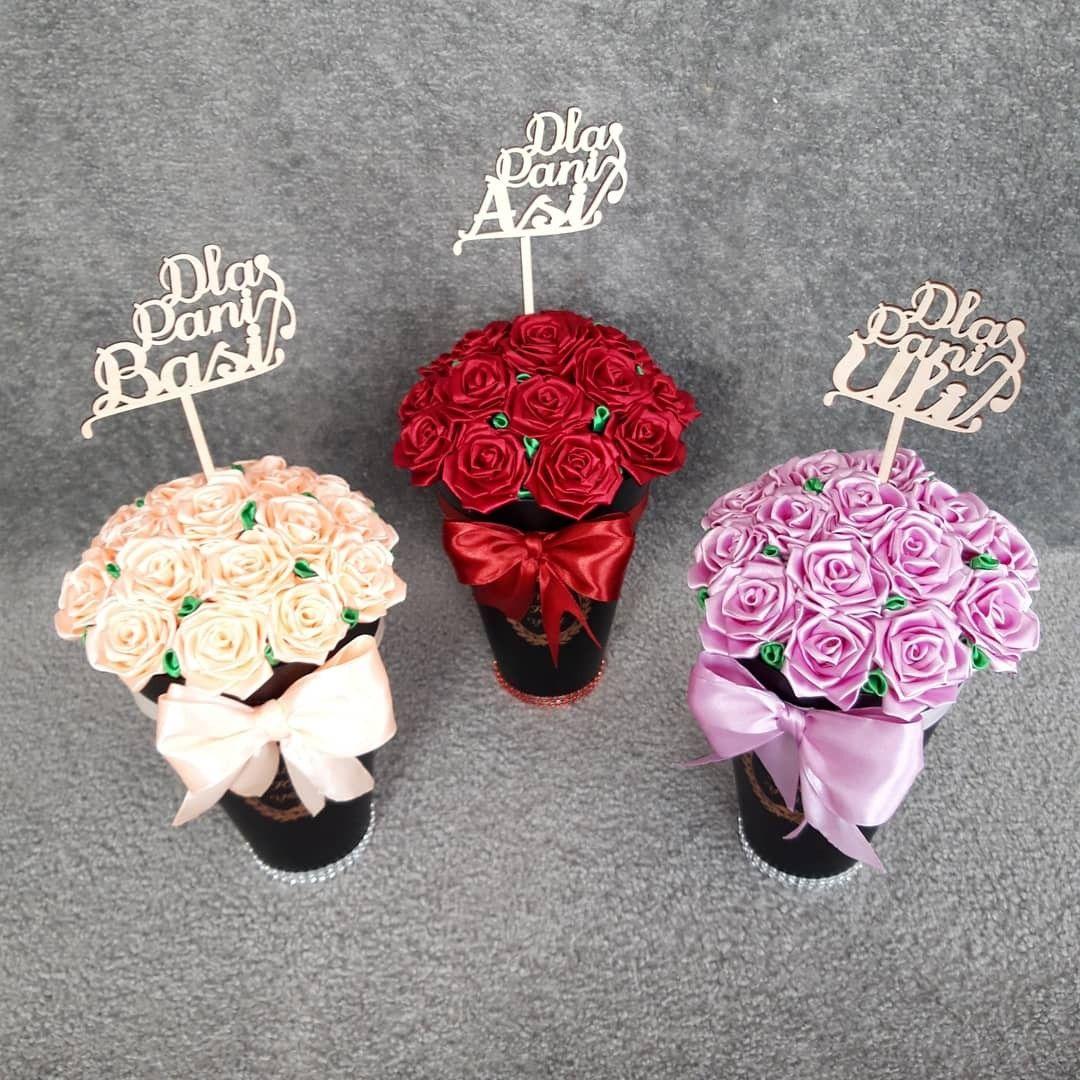 Flower Boxy Roze Ze Wstazki Satyniwej Flower Boxes Crochet Earrings Kanzashi