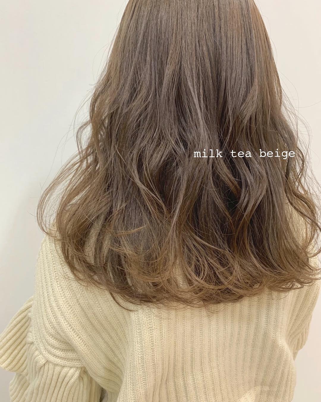 ミルク ティー ブラウン ミルクティーブラウンの髪色16選!ブリーチ無しで出来るヘアカラー画...