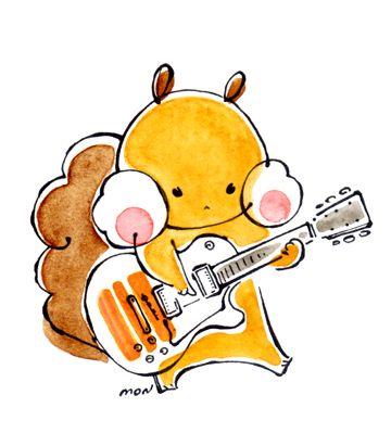 ギターを弾くりす りす イラスト キャラクター かわいい 音楽 イラスト