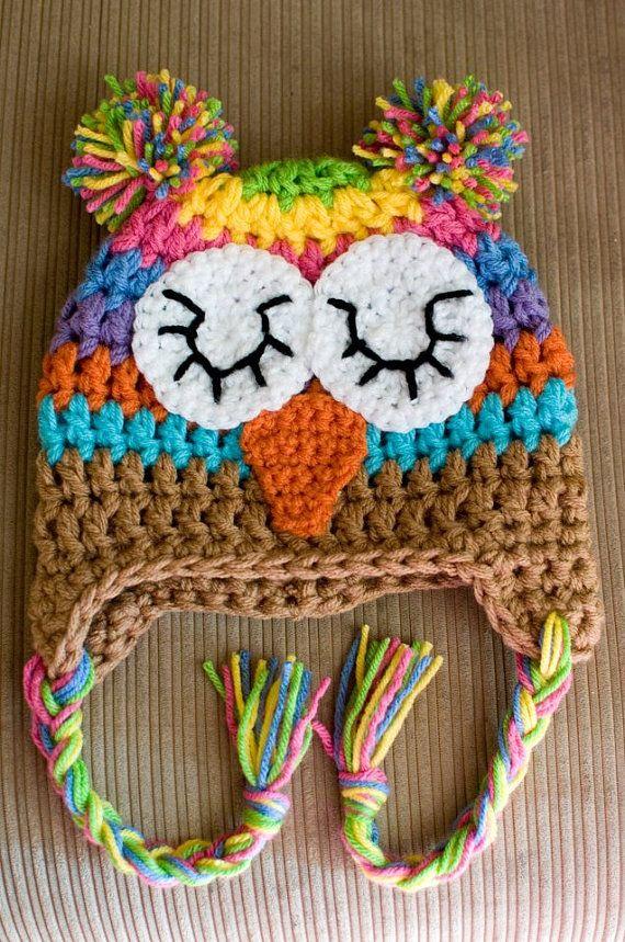 Crochet Rainbow Owl Hat | Collection of Crochet/Knit Hats & Booties ...