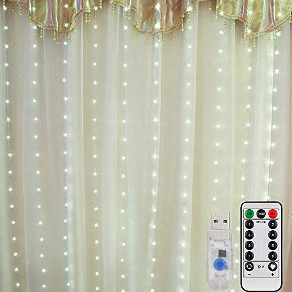 Mitening Led Usb Lichtervorhang 3m X 3m 300 Led Lichterkettenvorhang Mit 8 Modi Lichterkette Gardine Fur Dekorative Lichterketten Innenbeleuchtung Lichterkette