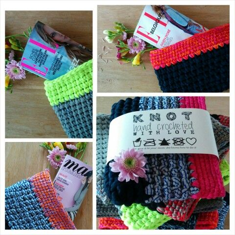Hand crocheted clutches by Knot. These are my babies