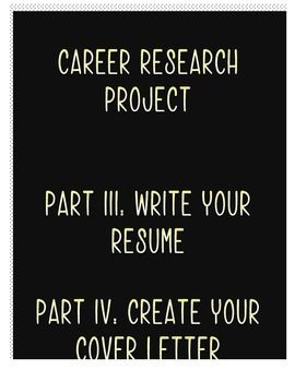 Career Research Project Part Iii  Iv Cover Letter  Resume
