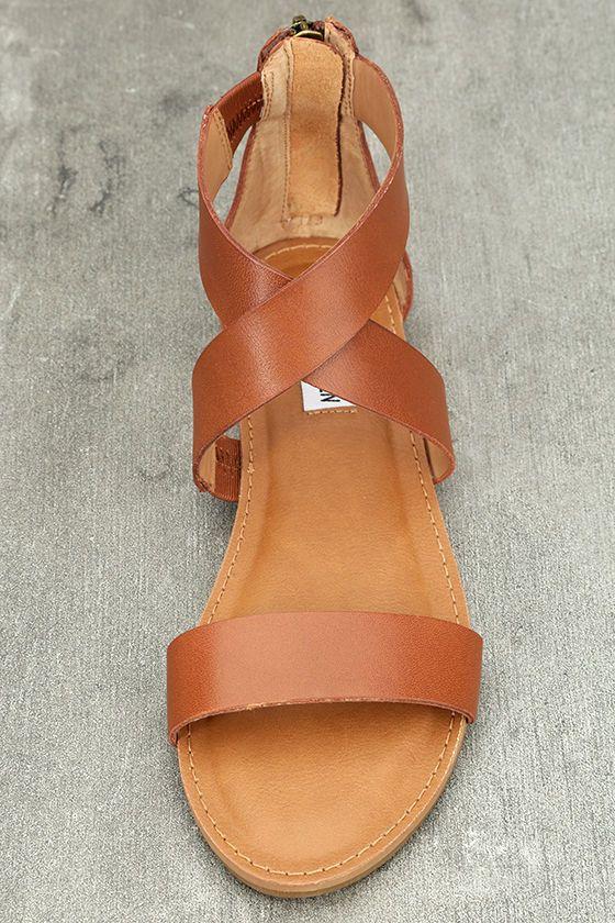 133942b345d6 Steve Madden Halley Cognac Leather Sandals