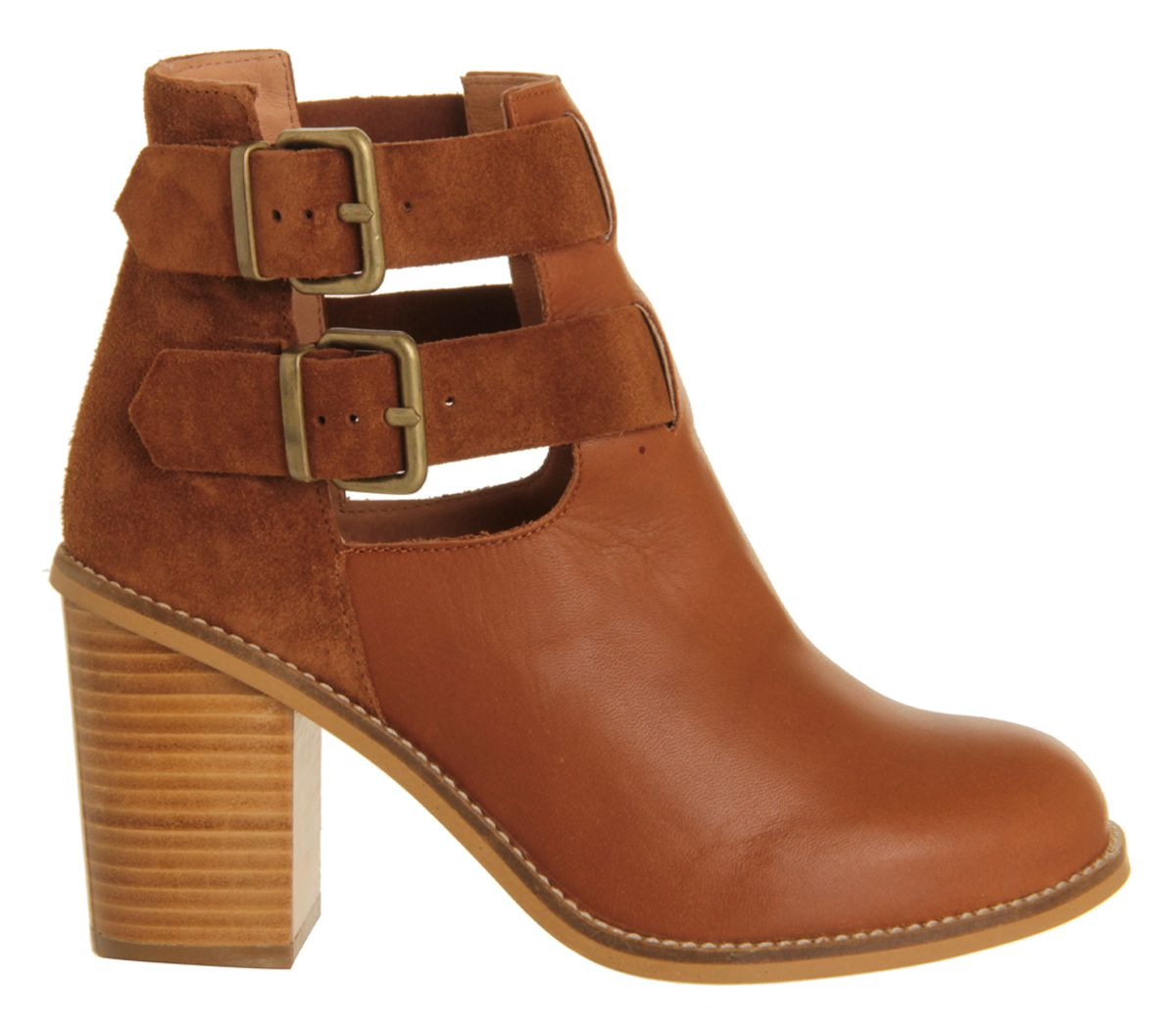 Office Cash Cut Out Buckle Boot Tan Nubuck Ankle Boots