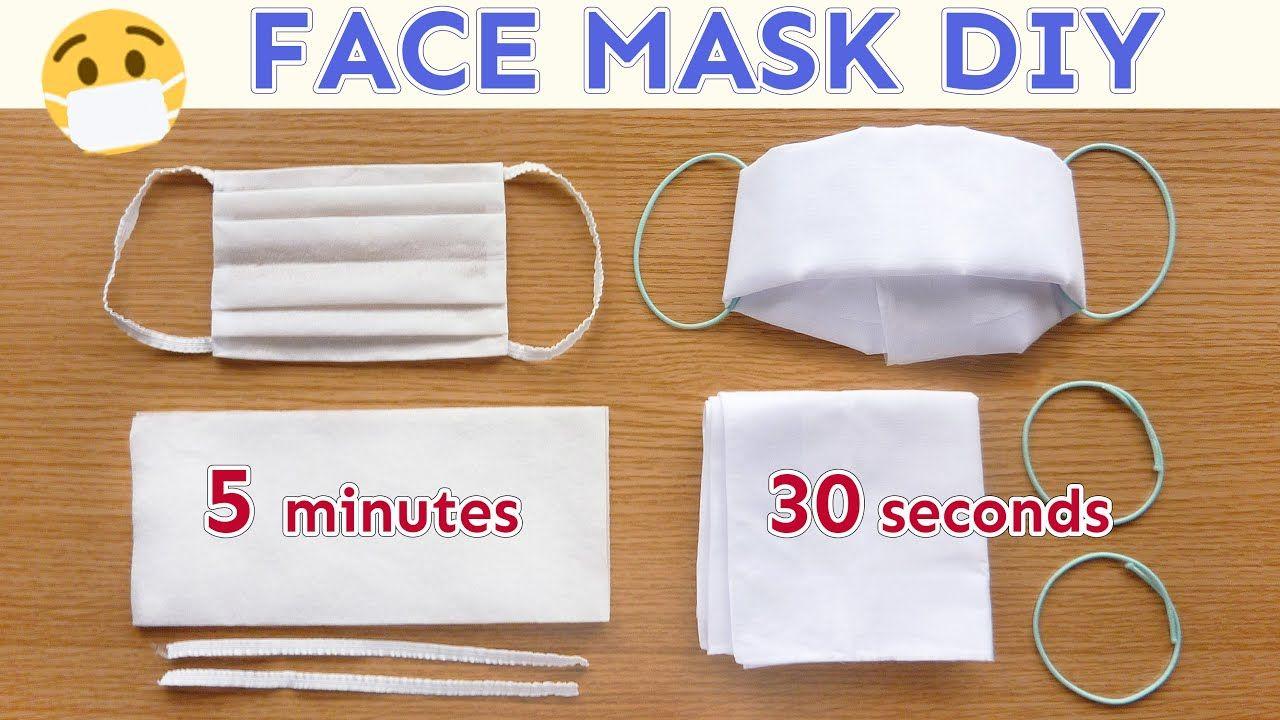 Diy face mask no sew paper wipe mask handkerchief