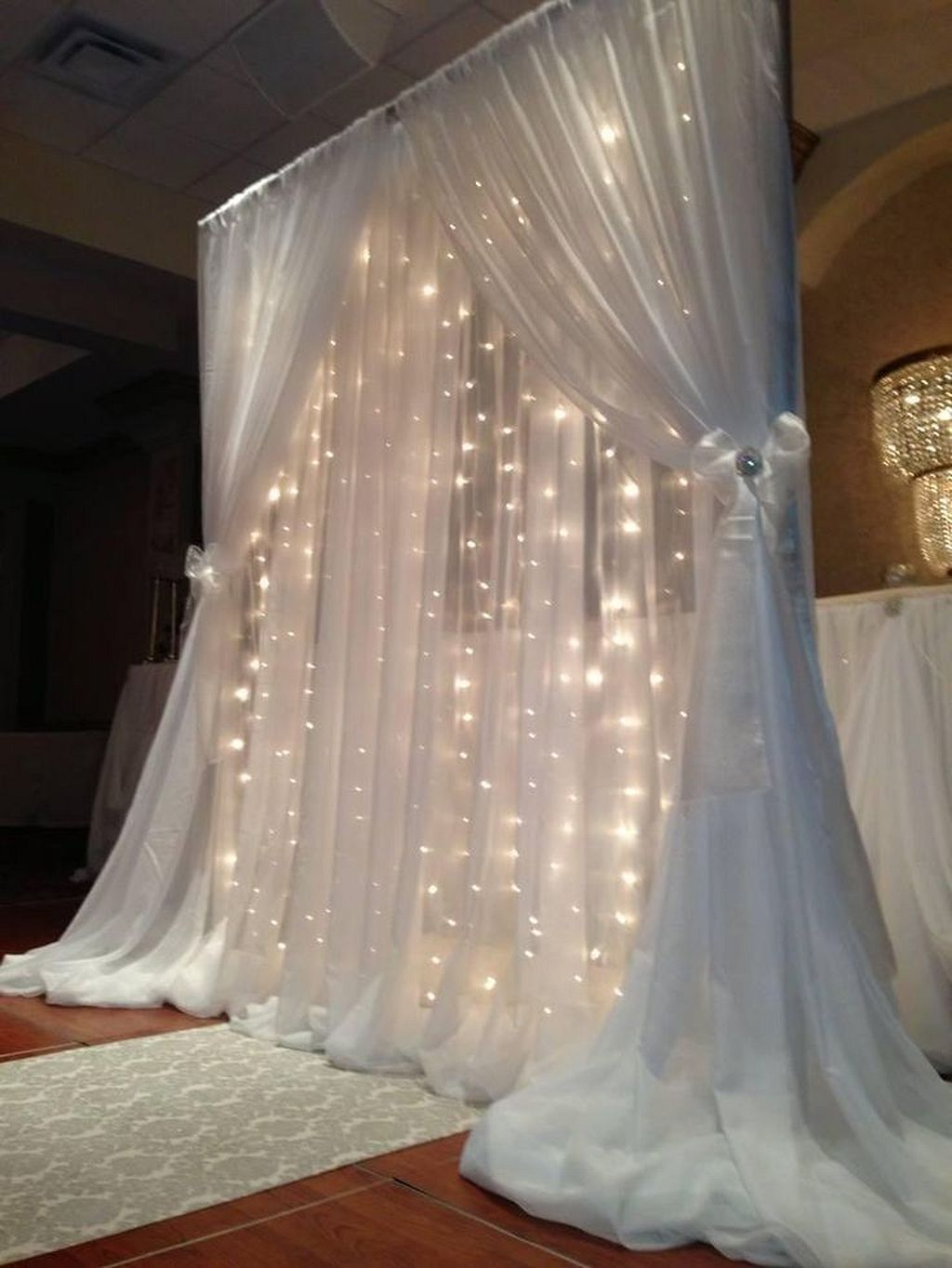 Wedding decorations tulle and lights  Pin by Laverna Mckinnis on decorations  Pinterest  Wedding