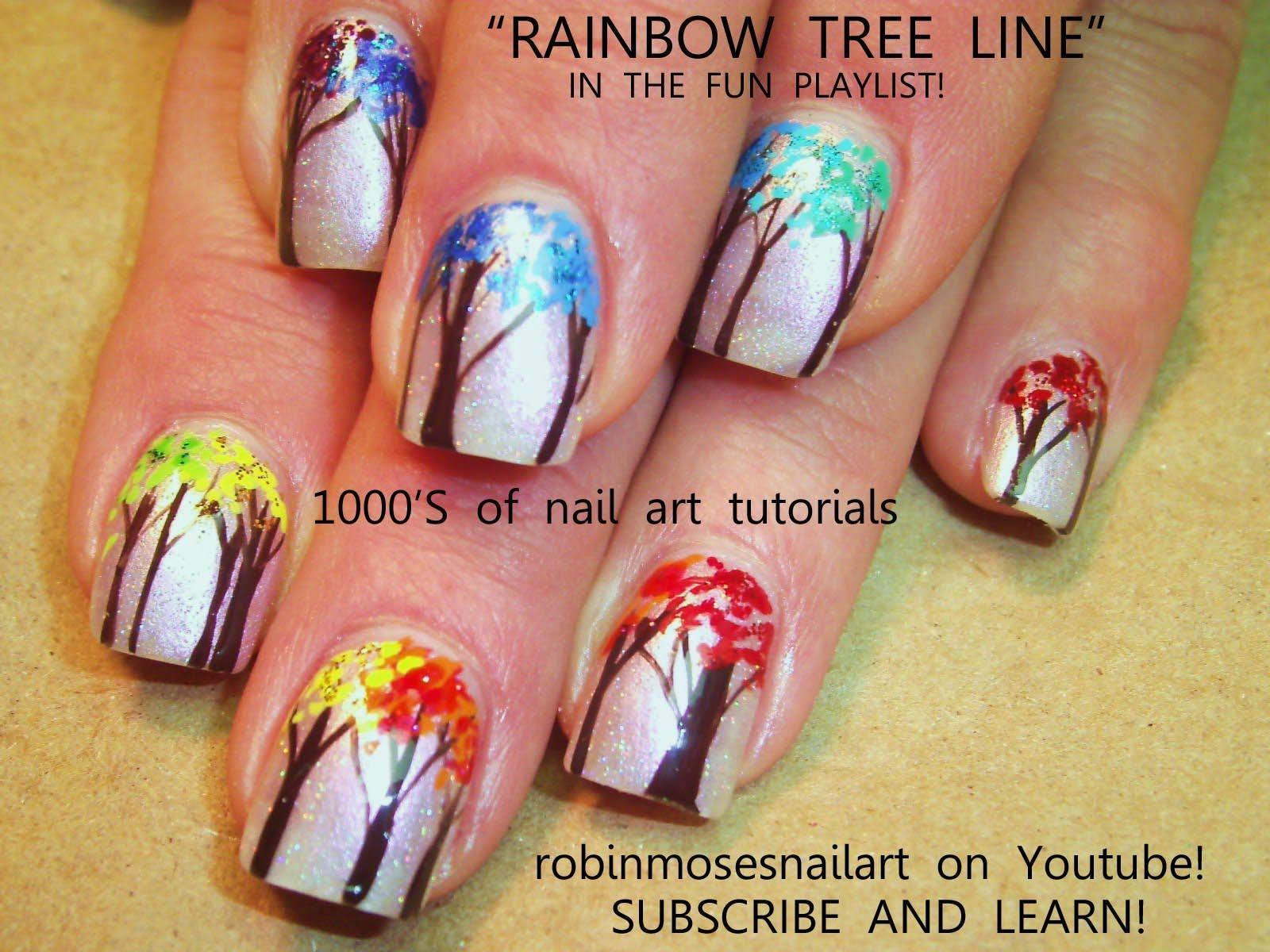 Easy Rainbow Tree Nail Art | CUTE nail art pictures with tutorials ...