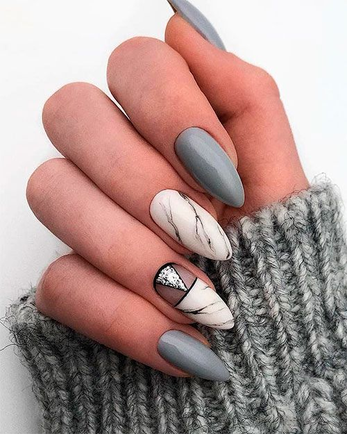 Gray and White Marble Almond Nails  #graynails #marblenails #almondnails #glitte…