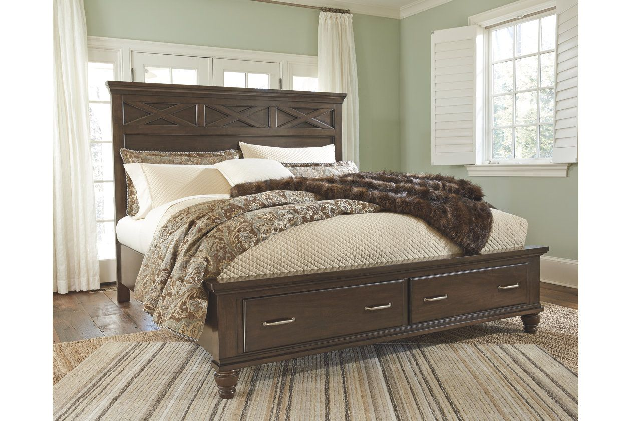 brossling queen panel bed w storage ashley furniture homestore