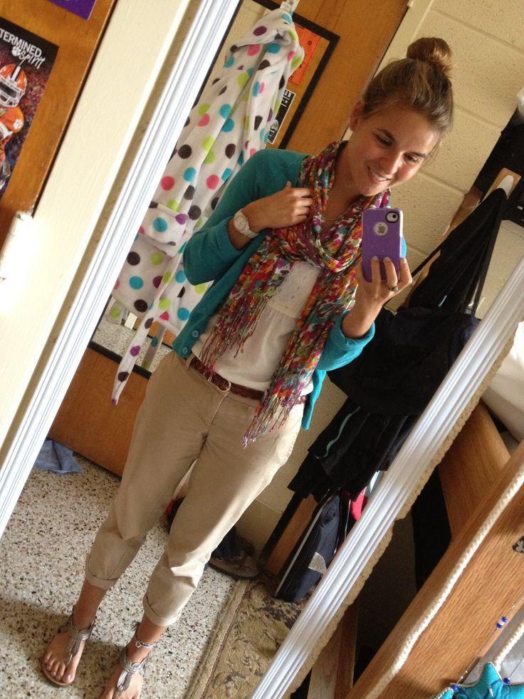 College Prep // College Style 101 | Khaki capris, Teal cardigan ...