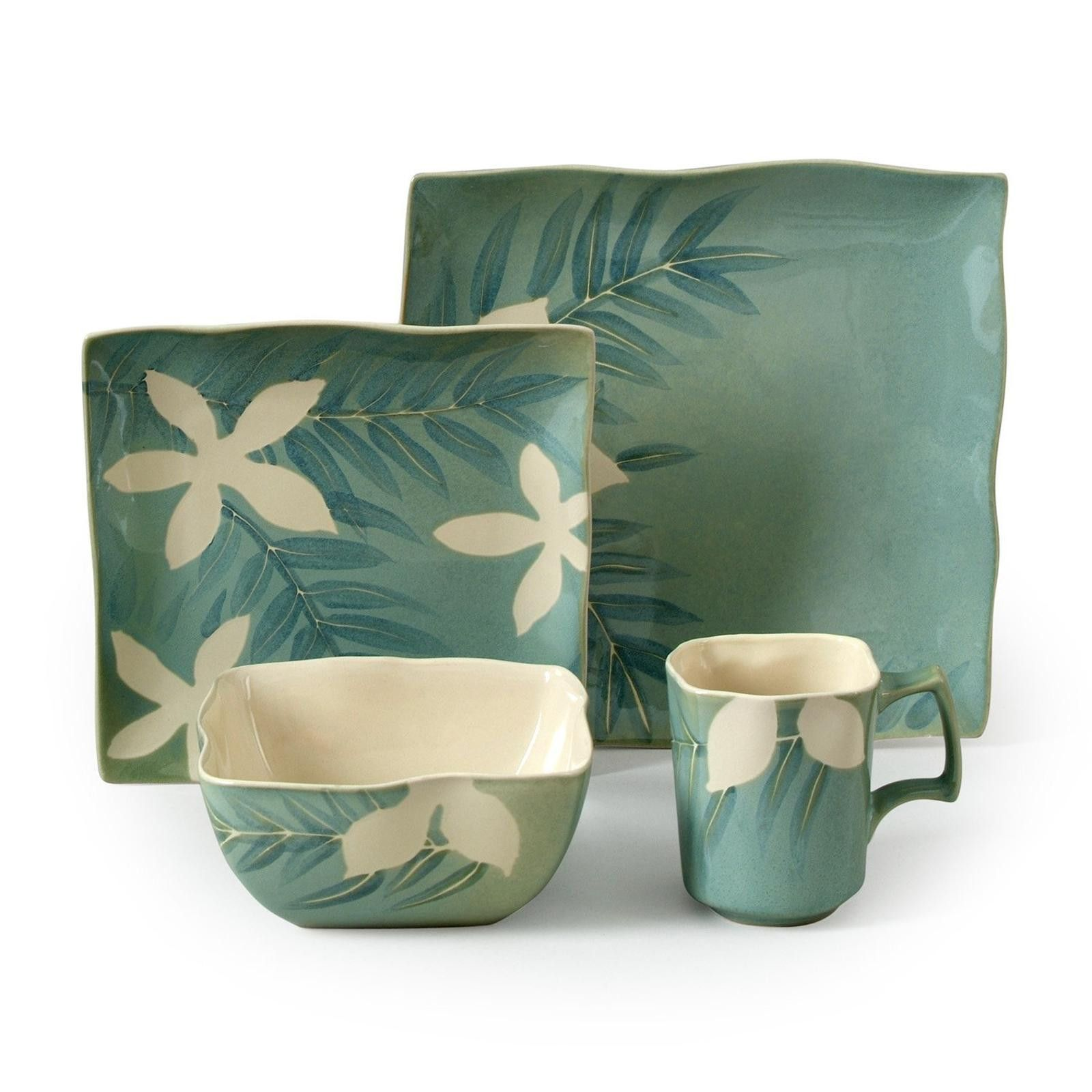 Spring Grove 16 pc Dinnerware Set Green (Square)  sc 1 st  Pinterest & Spring Grove 16 pc Dinnerware Set Green (Square) | Tropical Homes ...