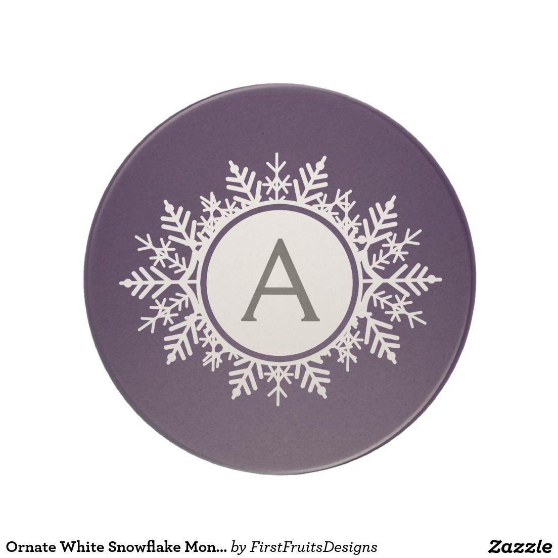 Ornate White Snowflake Monogram on Purple Beverage Coasters