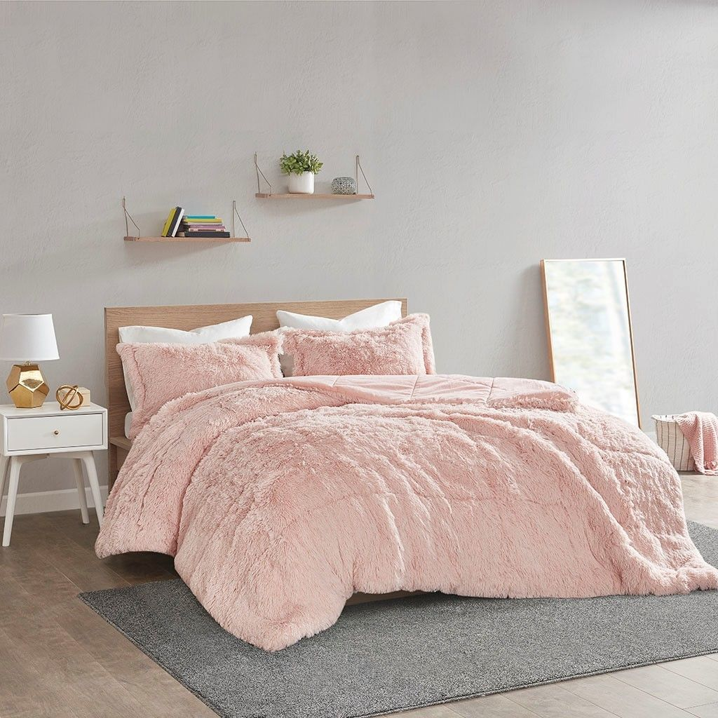 Blush Pink Shaggy Faux Fur Comforter And Decorative Shams In 2020 Comforter Sets Fur Comforter King Comforter Sets