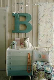 You pick your gradient colors form a color swatch buy samples of each color and paint the drawers! So Cute!
