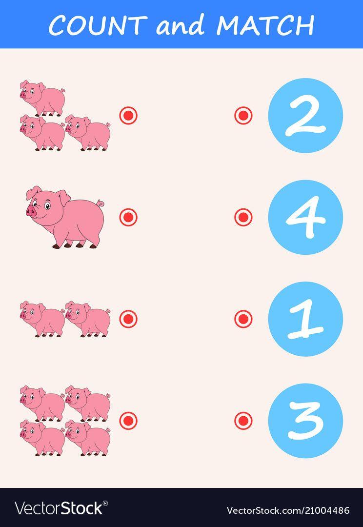 Vector Illustration Of Count And Match Pig Cartoon Download A Free Preview Or Hig Alphabet Worksheets Preschool Kids Math Worksheets Kids Worksheets Preschool [ 1080 x 744 Pixel ]