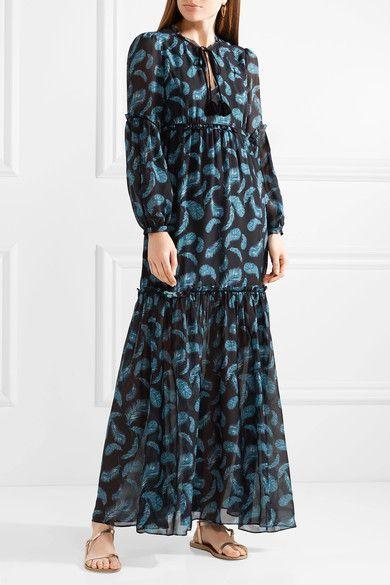 Victoria Printed Silk-chiffon Maxi Dress - Navy Rachel Zoe XedZ9Tx