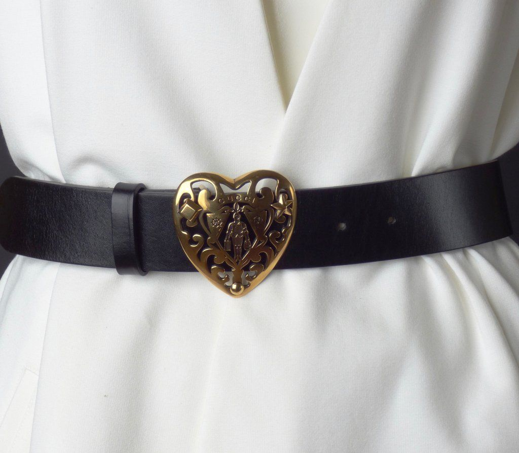 GUCCI Black Leather Belt with Brass Heart Buckle ️Outfits