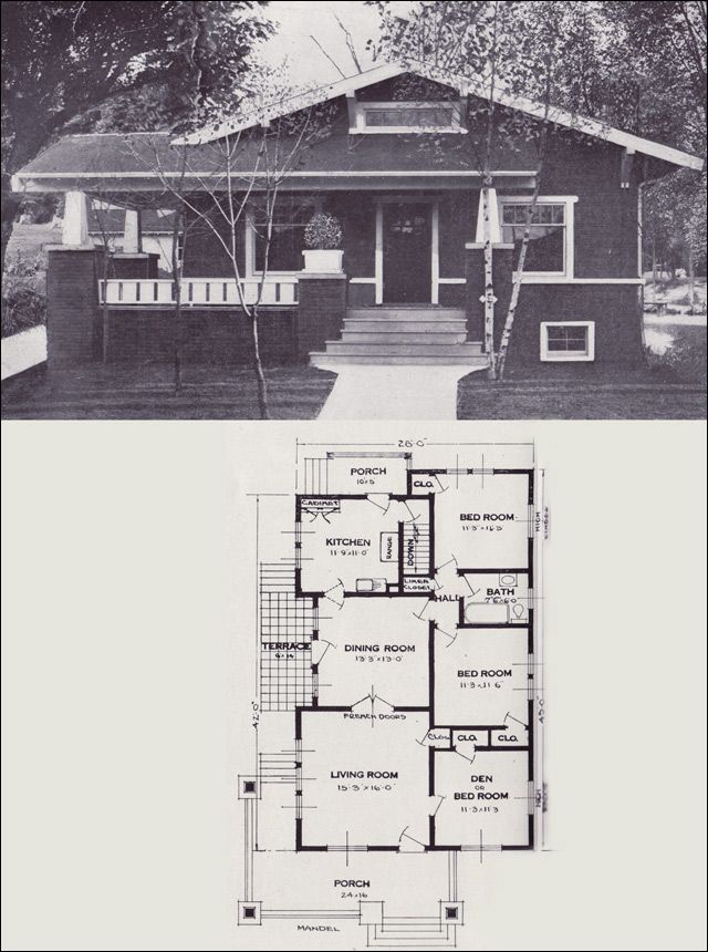 The Mandel From 101 Modern Homes By Standard Homes Company 1923 Craftsman Bungalow House Plans Craftsman House Plans Craftsman Style Bungalow