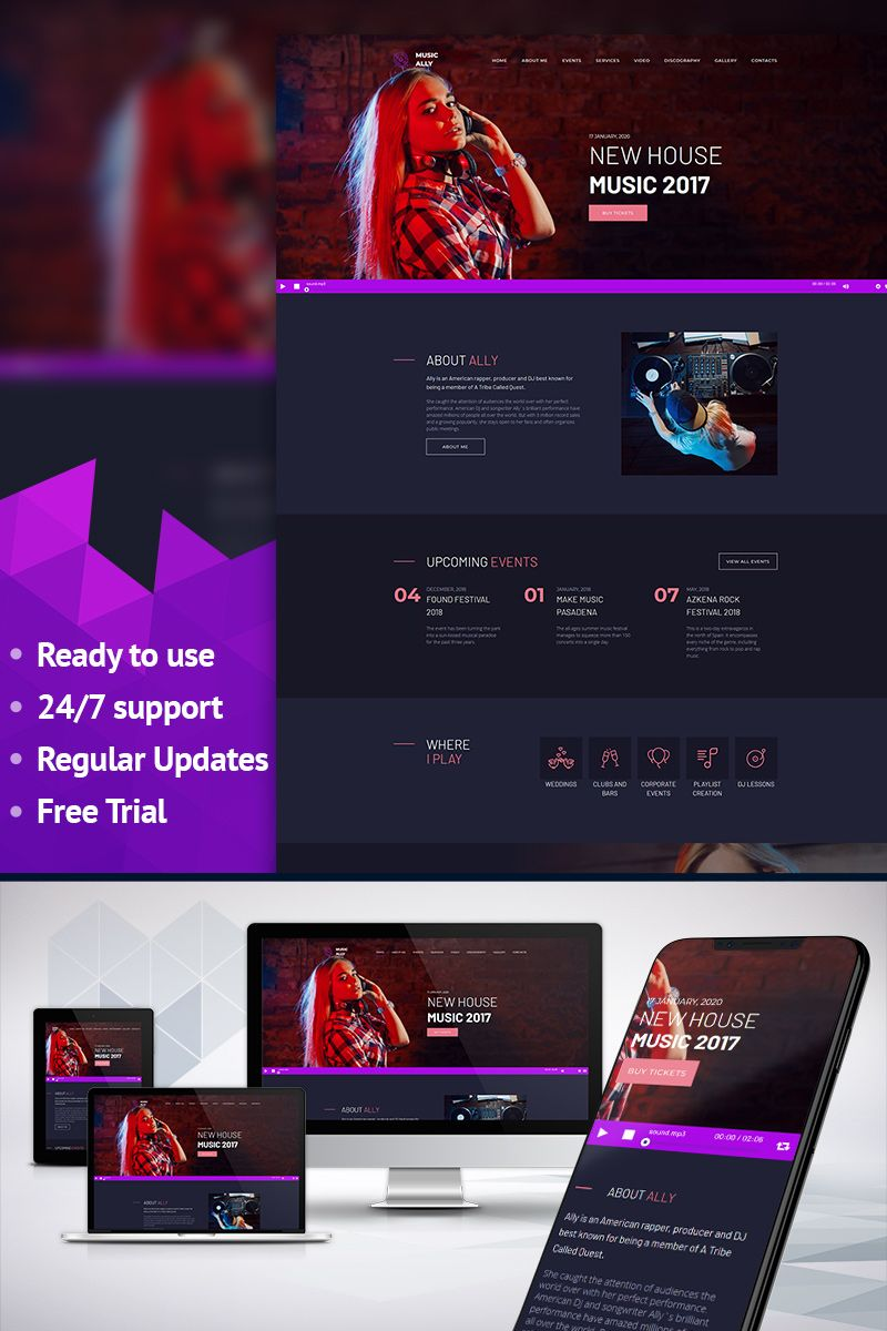 MusicAlly - DJ Premium Moto CMS 3 Template | Pinterest | Dj ...