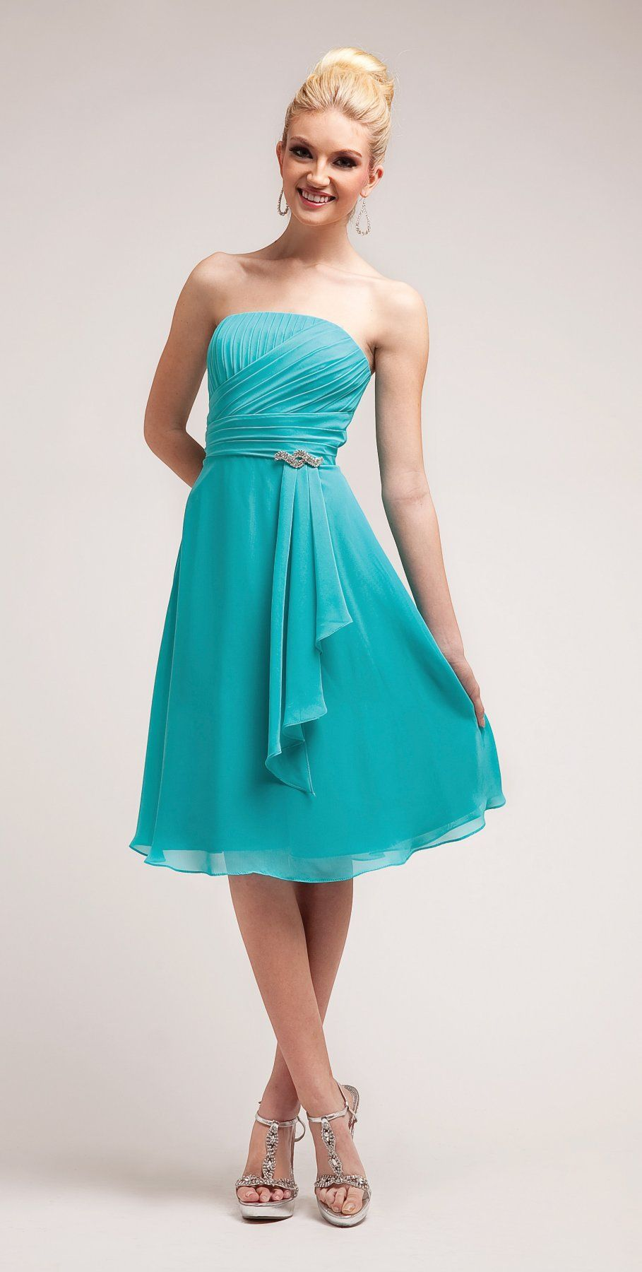 Simple A Line Knee Length Aqua Bridesmaid Dress Chiffon Strapless ...
