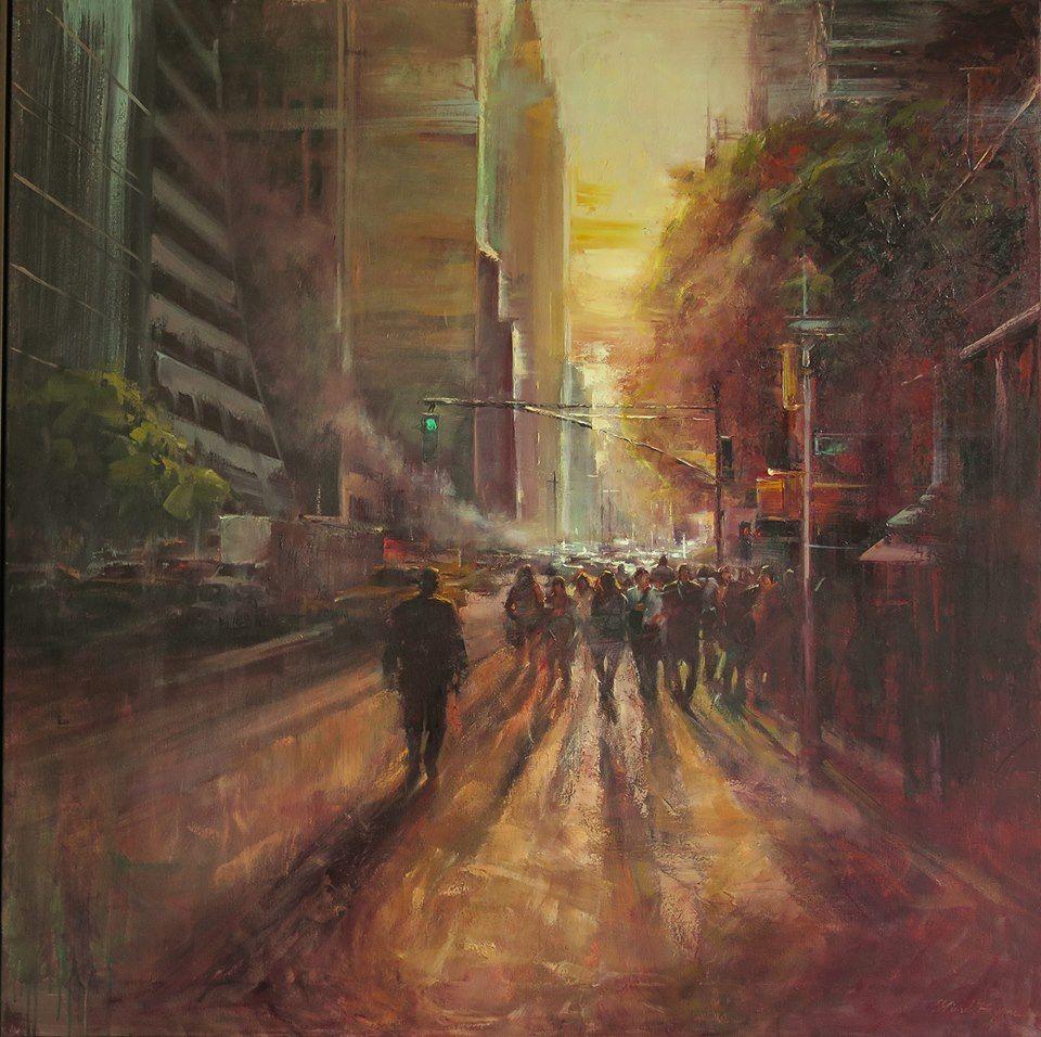 Michele Byrne, city scene artist ref, light, impressionist, en plein air