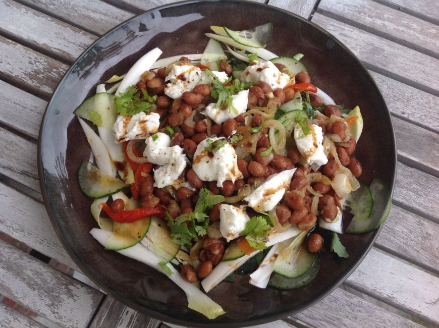 The Mmmmozzarella and borlotti bean salad. Putting the mmm back in salad. Great Pitta balancing summer dish.
