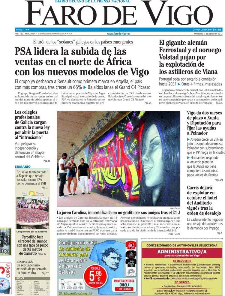 Los Titulares y Portadas de Noticias Destacadas Españolas del 7 de Agosto de 2013 del Diario Faro de Vigo ¿Que le pareció esta Portada de este Diario Español?