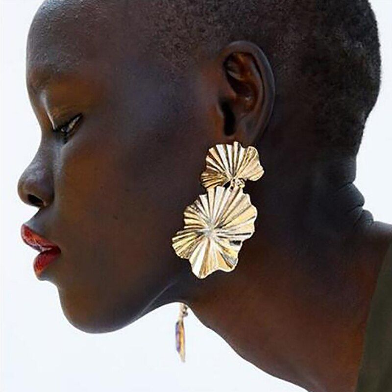 Lalynnly ZA Lotus Leaf Drop Dangle Earrings Vintage Wedding Party Jewelry Gift R E37731 Metal Color Gold