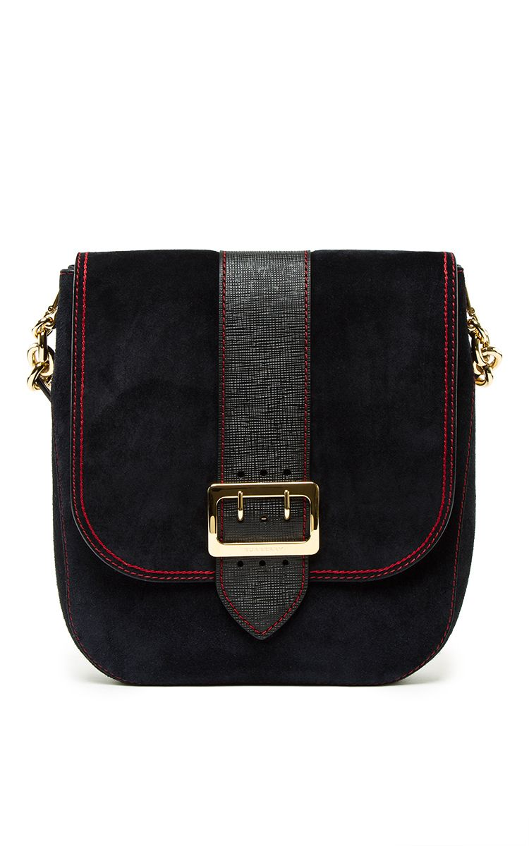 Satchel Bag In Navy Calf Suede by BURBERRY for Preorder on Moda Operandi 00f5f569bf859
