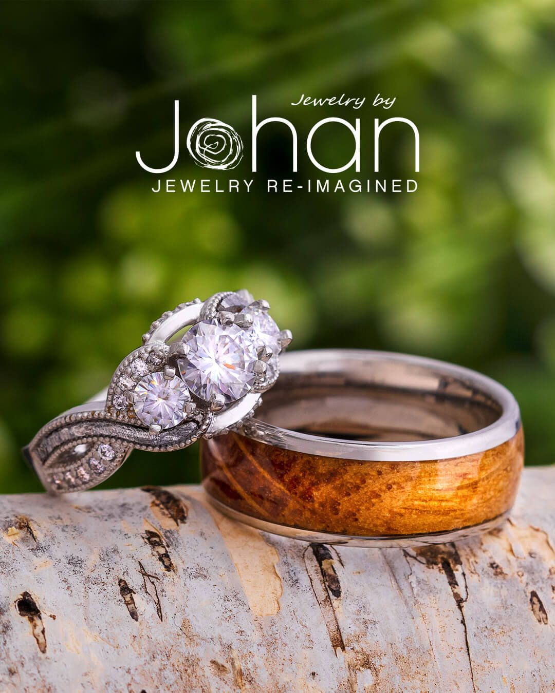 Exotic inlays like Gibeon meteorite and whiskey barrel oak wood make our custom #engagementring and #weddingband designs truly one of a kind. #JewelrybyJohan