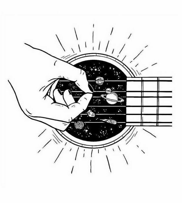 Space Guitar Art Drawing Illustration Abstract Guitarist