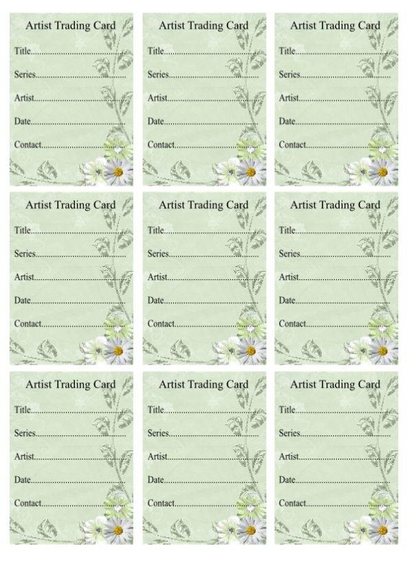 Free ATC Backs | Artist trading cards, Trading card ...