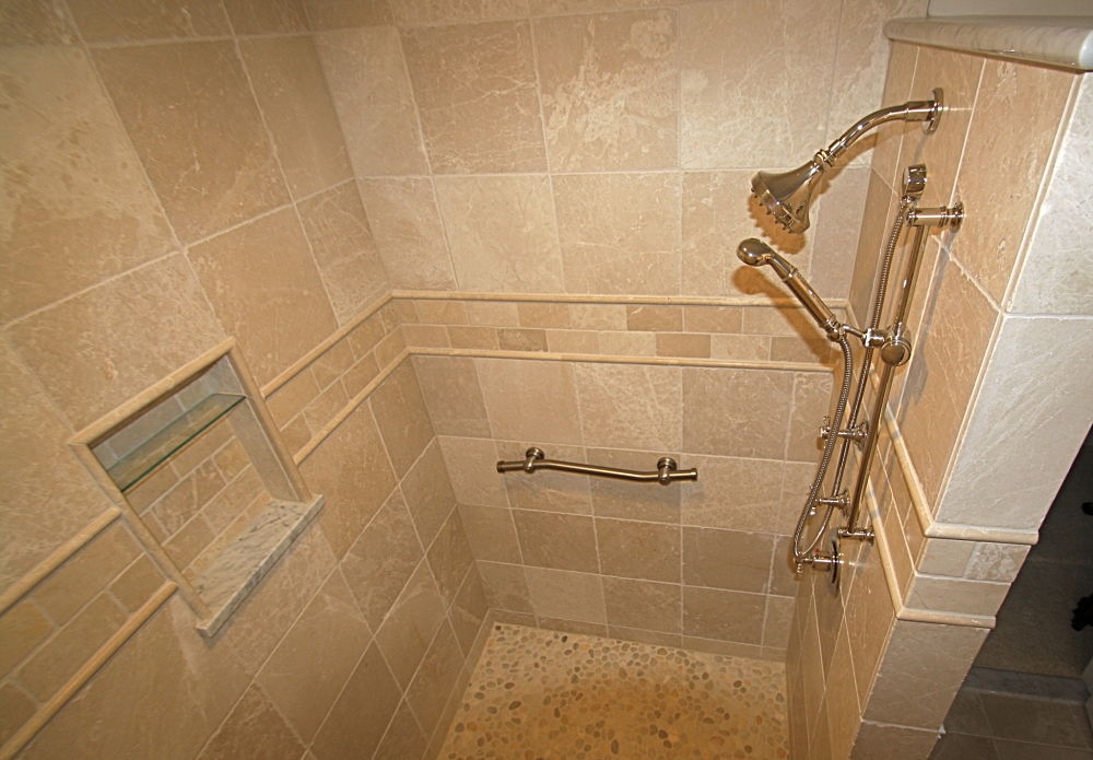 walk in tile showers without doors the large walk in shower is a room within a room. Black Bedroom Furniture Sets. Home Design Ideas