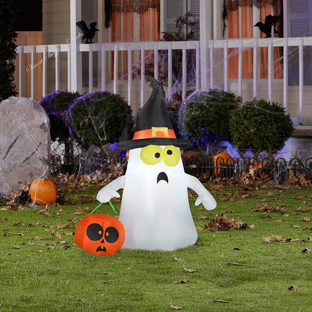 Halloween Inflatable Ghost With Witch Hat Outdoor Decoration White