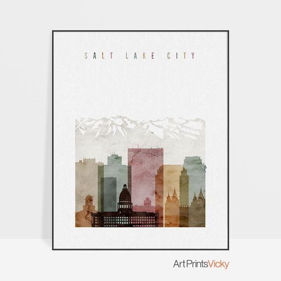 Salt Lake City Utah Homes: Salt Lake City Art Poster, Salt Lake City Print, Salt Lake