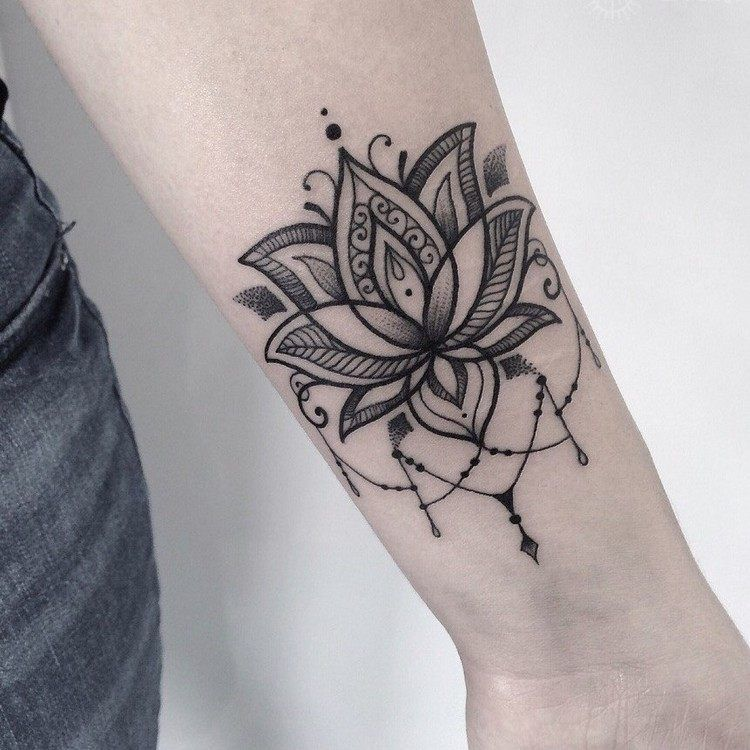 Lotus Tatoue Sur L Avant Bras Femme Ce Tatouage Respire Le Style