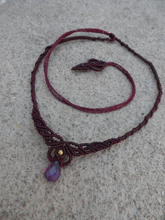 Amethyst Macrame Necklace Choker Amp Tiara Stone Size