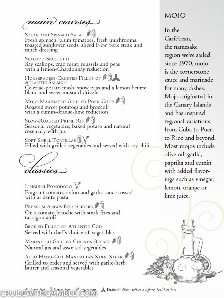 Royal Caribbean Main Dining room menus-2   Royal Caribbean