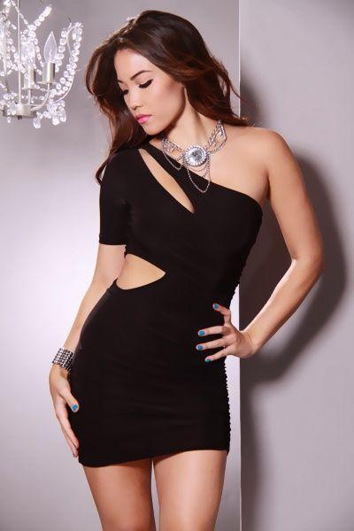 a4e3badde2b Black One Sleeve Cutout Ruched Fitted Mini Dress   Amiclubwear sexy dresses