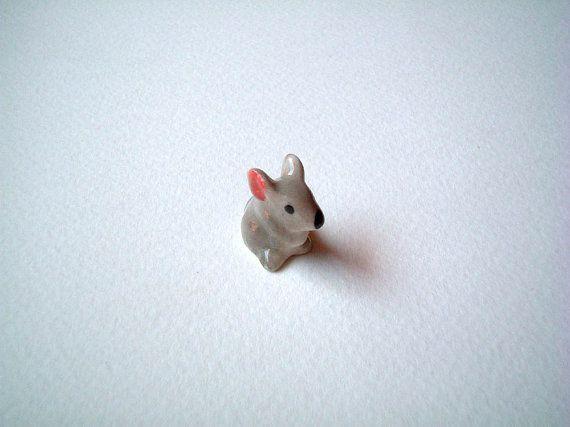 Rat Mouse Mice Hand Blown Glass Figurine Animal Blue Flower Miniature Handmade