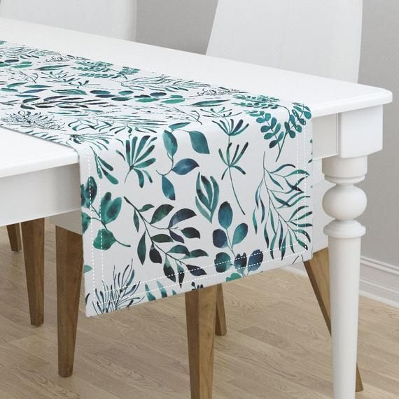 Table Runner Blue Watercolor Floral Flowers And Leaves Spring Cotton Sateen